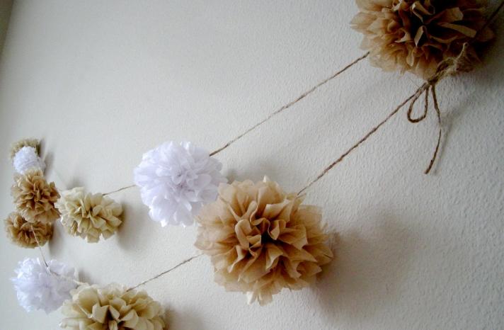 DIY Pom Garland for Elegant Beach Weddings