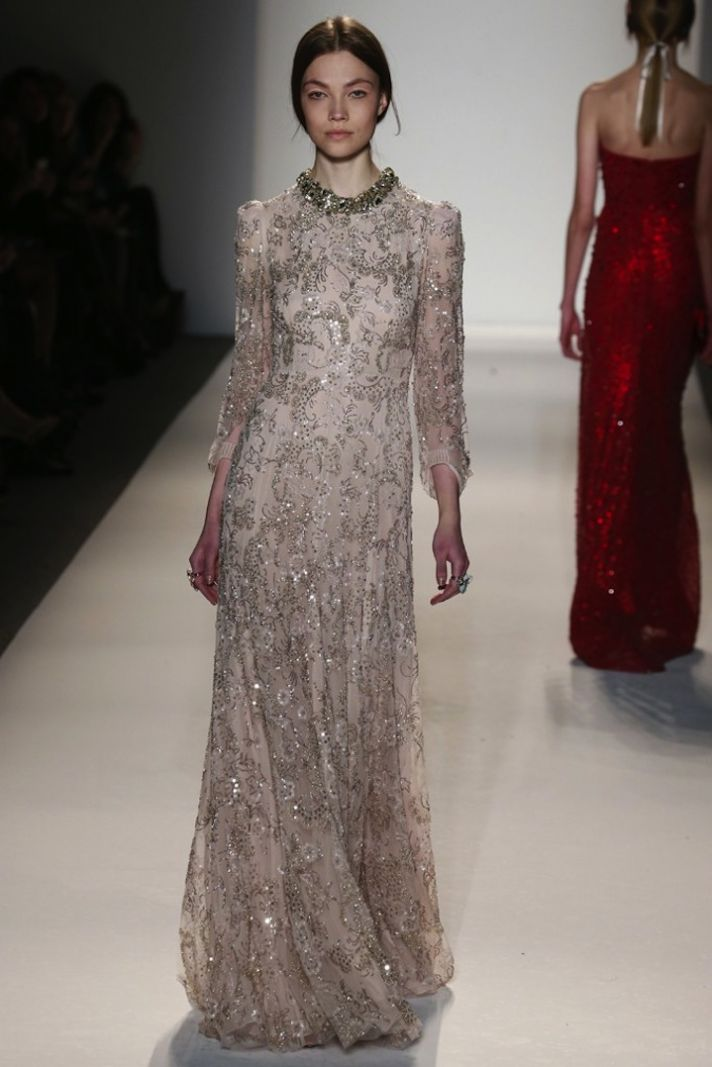 Cream Beaded Wedding Dress with Dusty Rose Sheer Cape