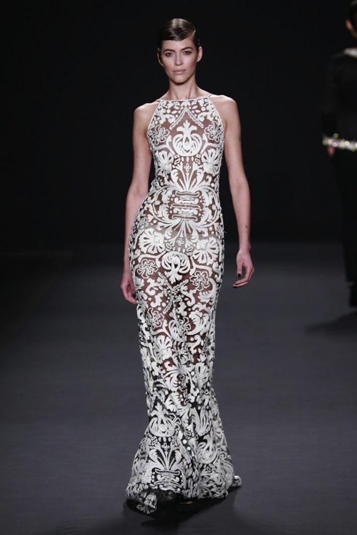 Sheer lace wedding dress with halter neckline by Naeem Khan