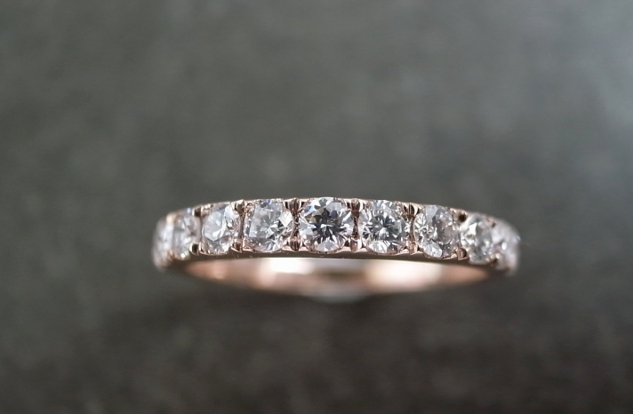 Rose Gold Wedding Band for Brides with Big Sparkly Diamonds