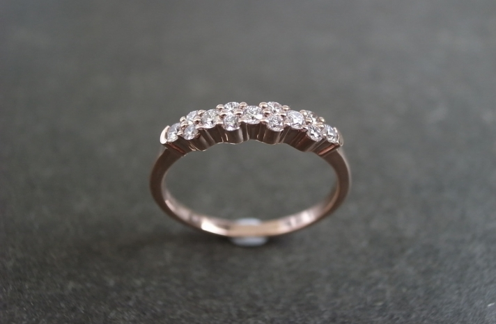 Rose Gold with Diamonds Wedding Ring or Band