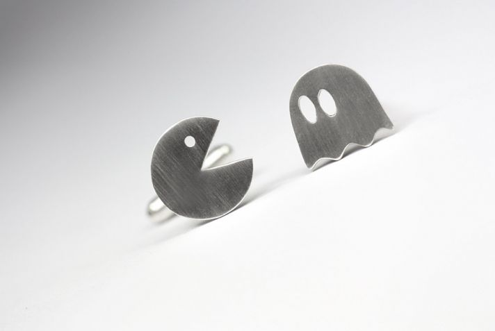 Brushed Silver Pacman Cuff Links
