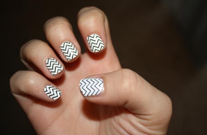 White and Black Chevron Wedding Nail Art