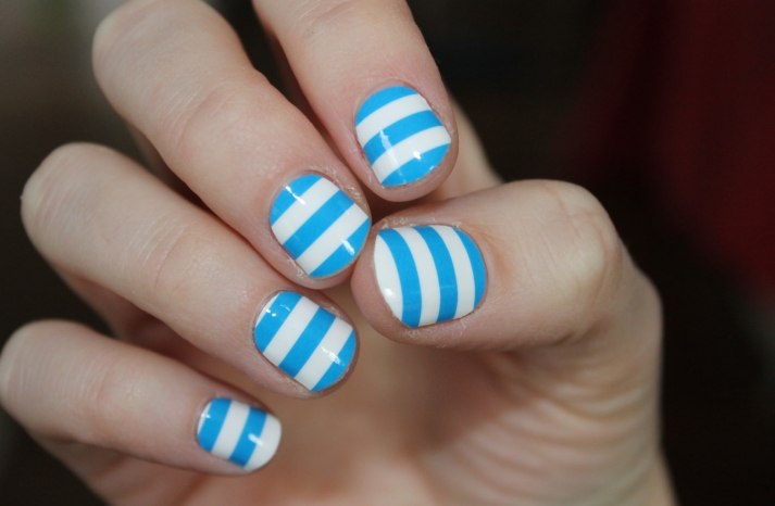 Blue and White Stripe Wedding Nails