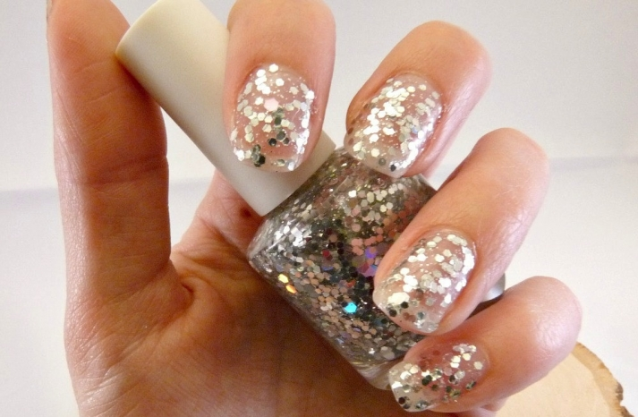Glitter encrusted wedding day nails