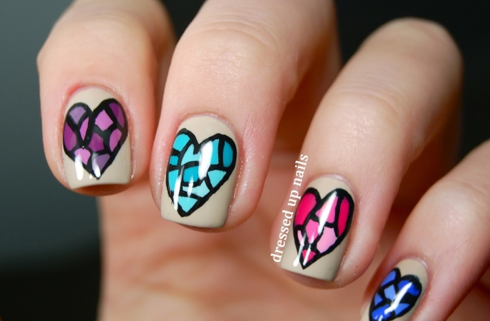 Stained Glass Hearts Wedding Nails