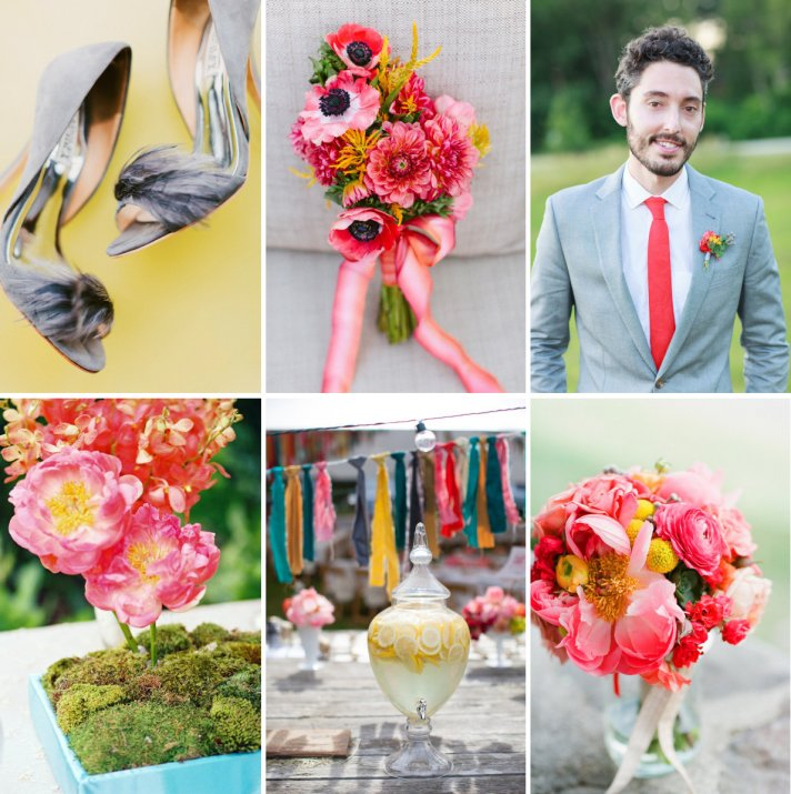 Beautiful Wedding Color Palette: Peony Pink, Bright Coral, Yellow and Green