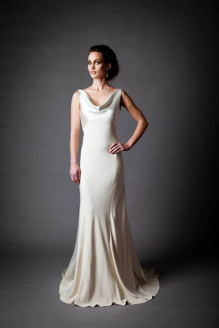 Silk Charmeuse Open Back Wedding Dress