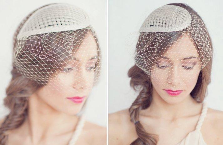 Fancy wedding hats beige with netting 2