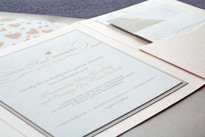 Romantic neutrals with blush wedding invitations