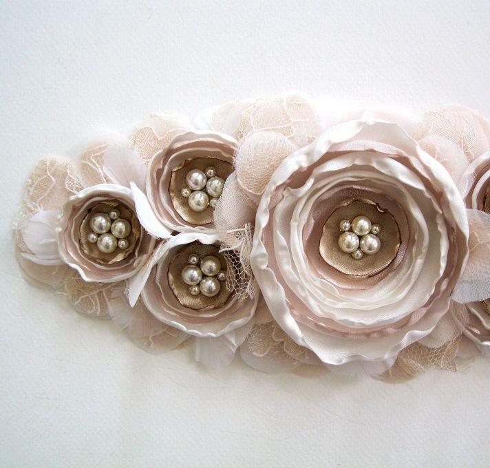 Blush and beige bridal sash