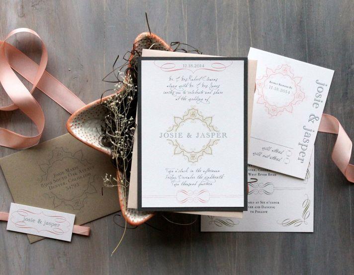 peaches cream and neutral wedding invitations