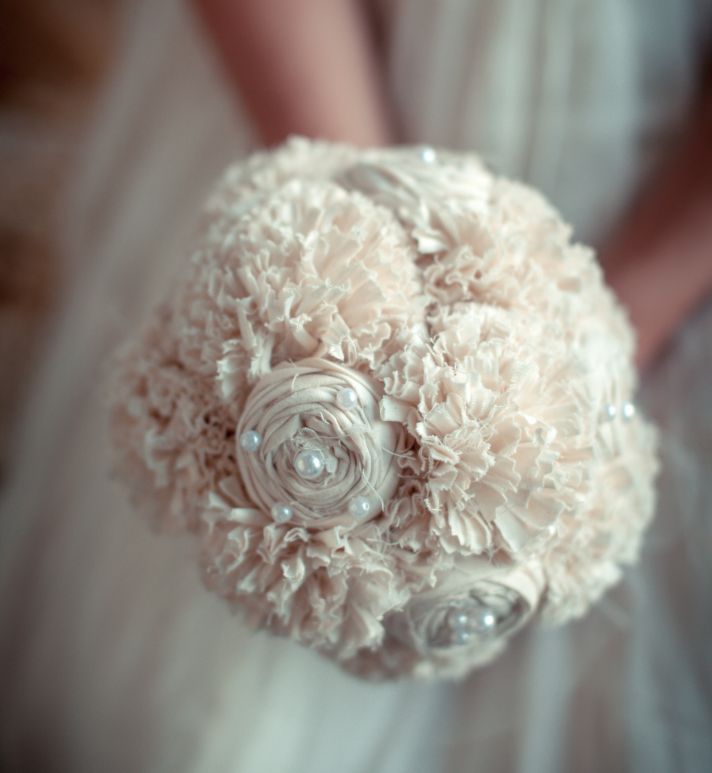 Pink and Ivory fabric bridal bouquet