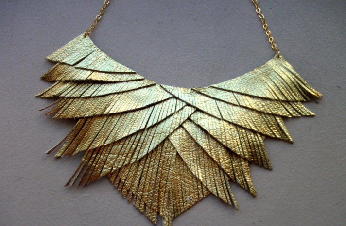 Fringe gold lame wedding necklace