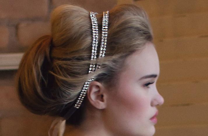 Double band beaded bridal headband