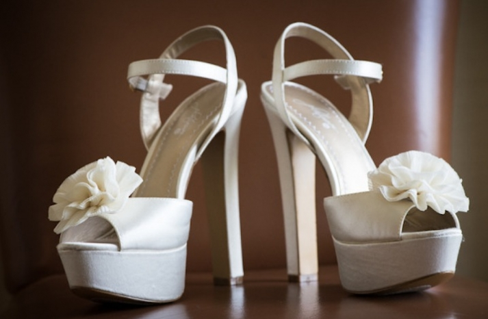 Ivory platform wedding shoes with floral accents