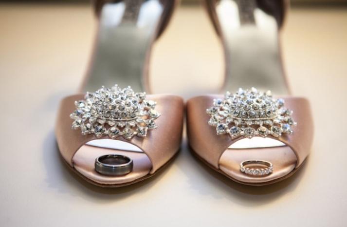 Satin blush pink wedding heels with crystal brooches