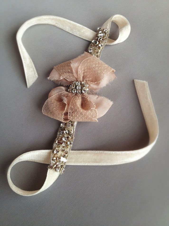 Blush antique wedding accessories bow cuff bracelet