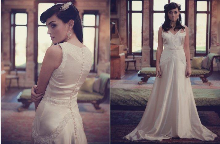 Handmade lace silk wedding dress