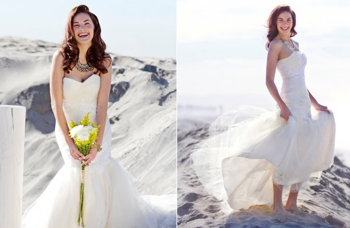 Ivory mermaid wedding dress with white lace applique