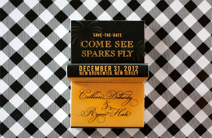 gold and black matchbox wedding save the date