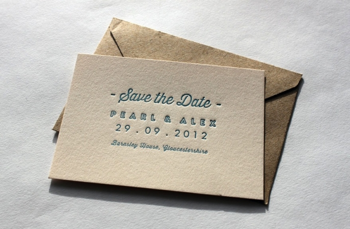 Simple letterpress cards wedding save the date beige blue