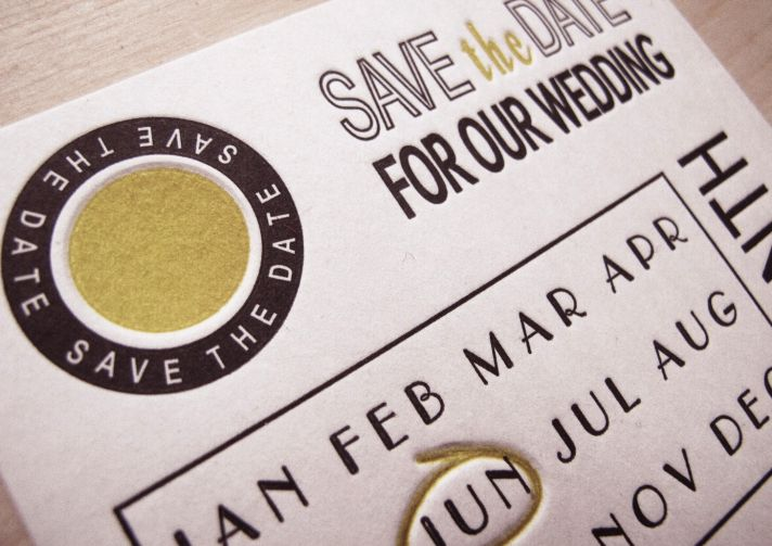 Scratch off inspired wedding save the date