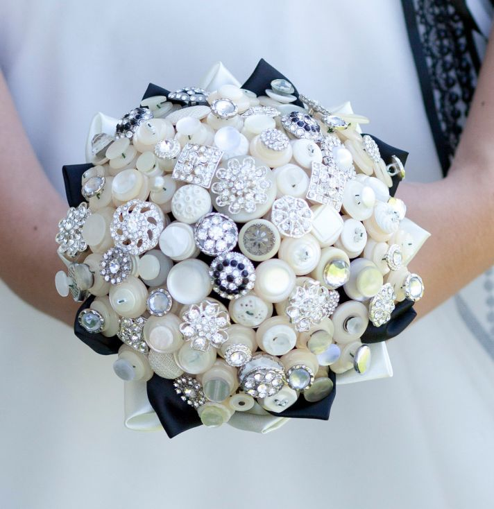 Ivory Silver Black Brooch and Button Wedding Bouquet