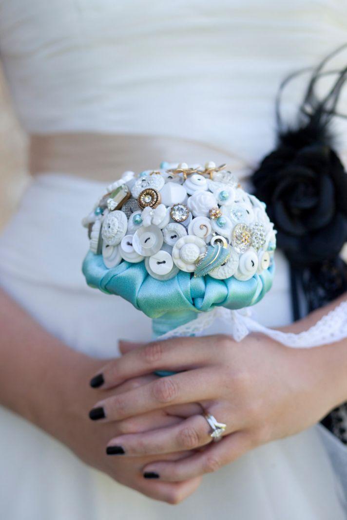 White gold and aqua button wedding bouquet