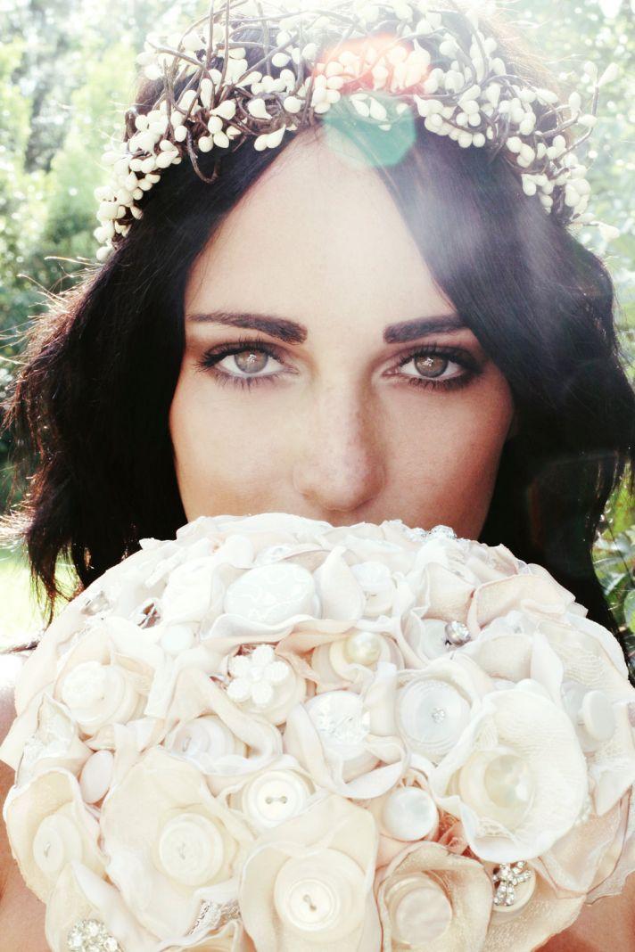 Bohemian Bride Wears Floral Hair Wreath Holds Button Bridal Bouquet