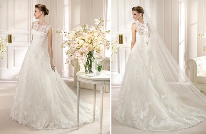 2013 Wedding Dress San Patrick Bridal Costura collection Amparo lace illusion neck