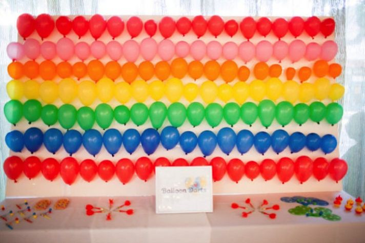 Rainbow wedding decor balloon darts