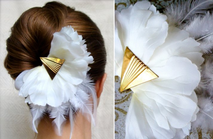 Art Deco Inspired White and Gold wedding hair flower