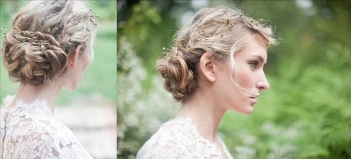 Romantic braided wedding updo outdoor I Dos
