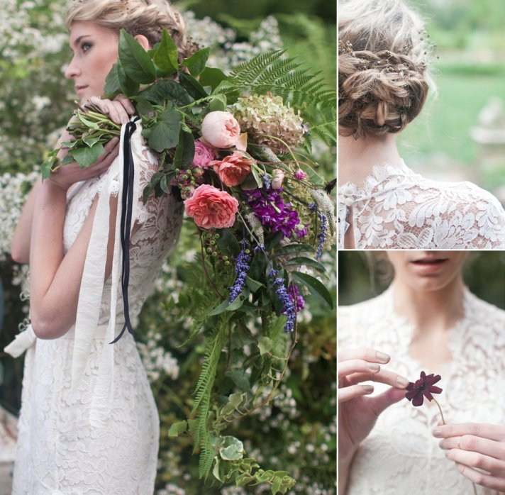 Romantic braided wedding updo outdoor I Dos