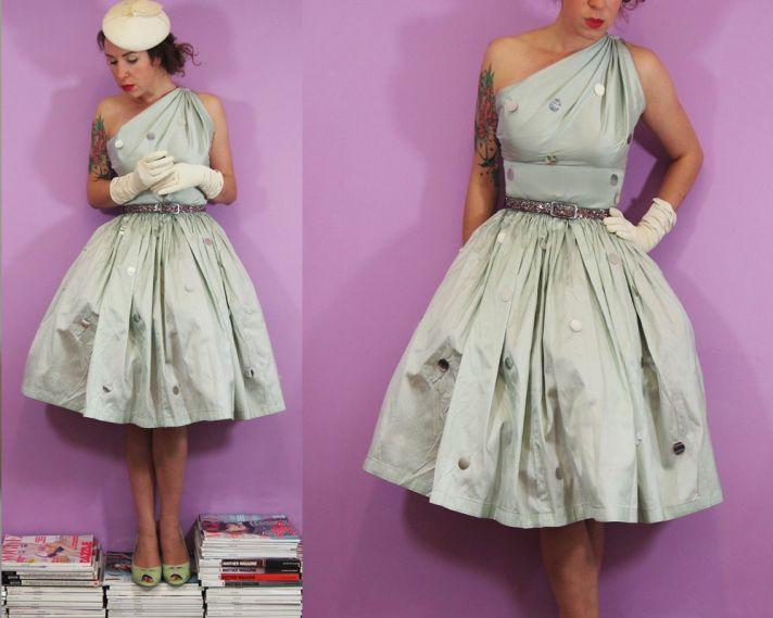 vintage inspired light blue one shoulder wedding dress
