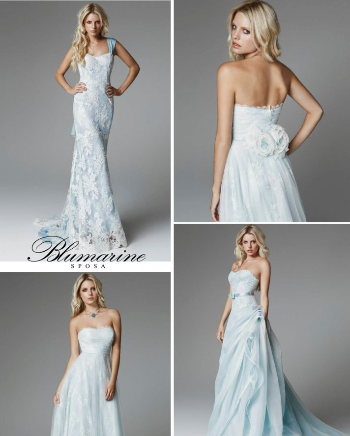 Is blue the new blush for Blue lace wedding dress