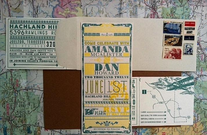 Retro travel wedding invitation suite