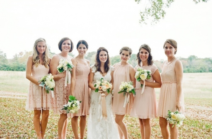 pastel peach mix and match bridesmaids