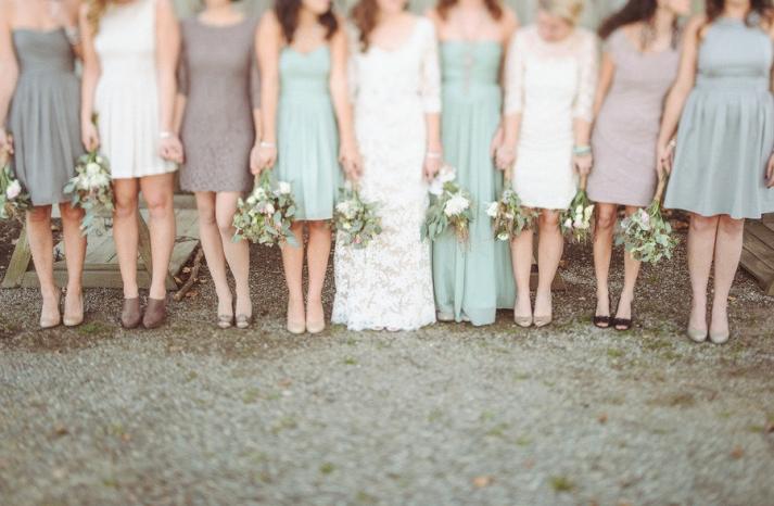 Sage mauve cream mix and match bridesmaids