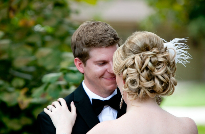 Classic wedding hairstyle curly chignon