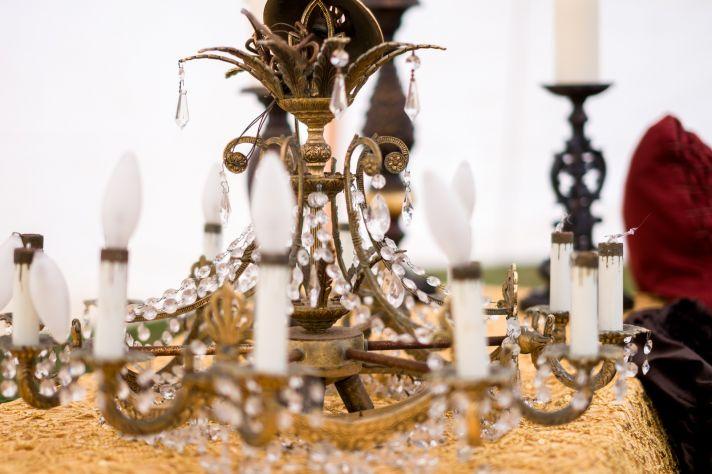Vintage chandelier for wedding reception decor