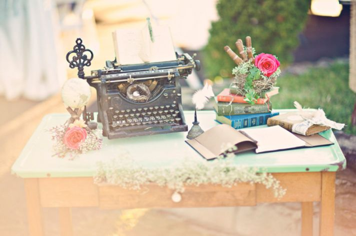 Vintage wedding welcome table antique typewriter books and more