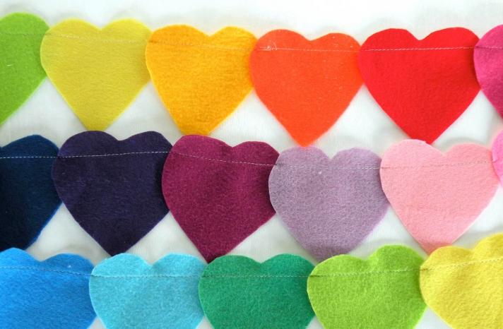 Rainbow heart wedding garland