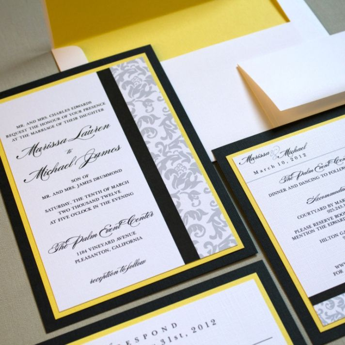 yellow and black wedding invitation - 28 images - black white yellow ...