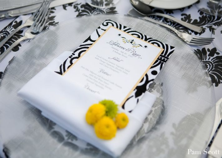 black white yellow wedding colors place setting