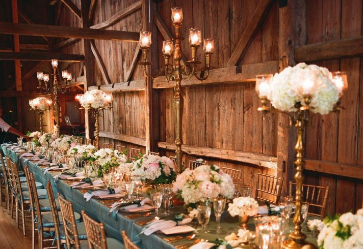 Rustic elegance wedding reception venue and decor