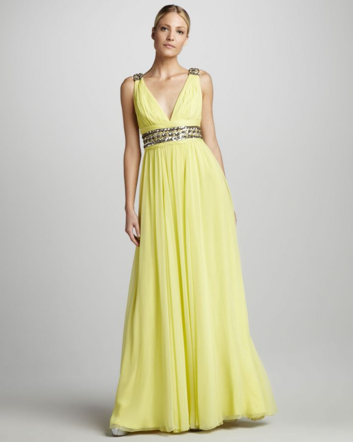 Wedding Dresses Yellow 14 Perfect Yellow v neck bridesmaid