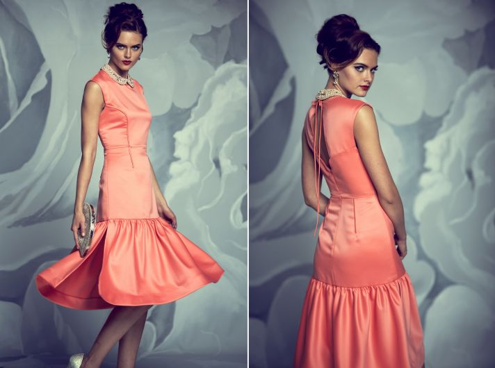 Coral satin bridesmaid dress by BHLDN