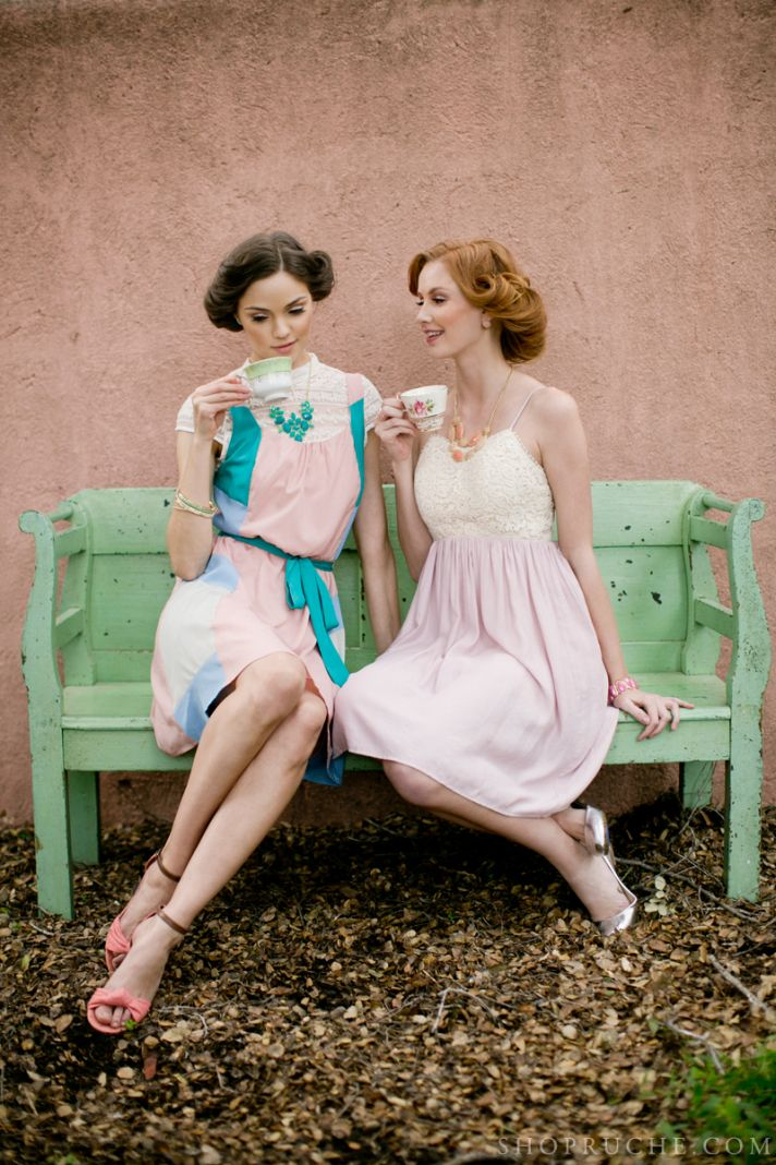 Vintage romance pastel bridesmaid dresses